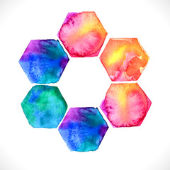 Watercolor bright hexagon over white