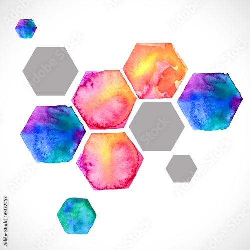 Papiers peints Forme Watercolor bright hexagon over white