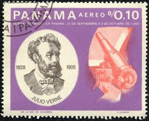 stamp printed in Panama shows Jules Verne