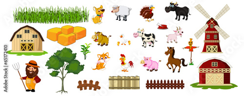 illustration of farmer,farm animals and related items