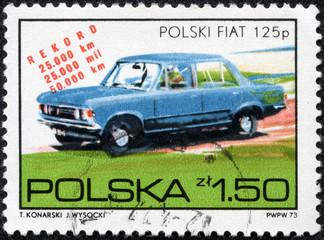 stamp printed in Poland shows a Polski-Fiat 125P