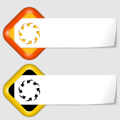 set of two icons with paper on note and arrows