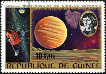 stamp shows Copernicus, Jupiter and spacecraft
