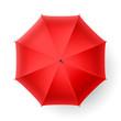 Red umbrella, top view.