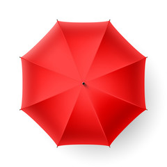 Red umbrella, top view.