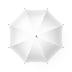 White umbrella,  top view.