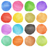 Abstract colorful watercolor hand painted circle on white