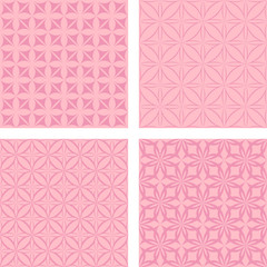 Vintage pink seamless pattern background set