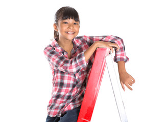 Young Asian Malay girl on a ladder