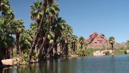 Angling ponds at Papago Park. Phoenix, Arizona, USA.