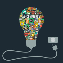 E-commerce with bulb icons design, vector format