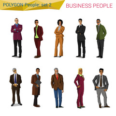 Polygon style standing business people set