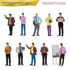 Polygon style presentation business people set