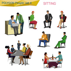 Polygon style sitting people set