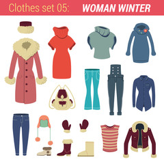 Woman winter clothing vector icon set. Jacket, sweater, boots..