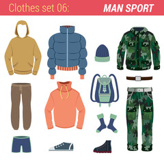 Man outdoor sport clothing vector icon set. Jacket, camouflage.
