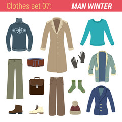 Man winter clothing vector icon set. Jacket, sweater etc.