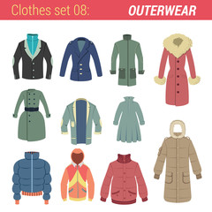 Outerwear vector icon set. Jacket, coat, hoody etc.