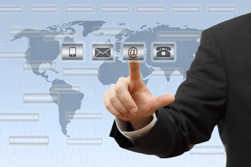 Businessman pressing virtual ( mail,phone,email ) buttons. suppo