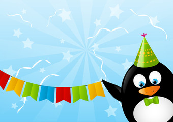 Funny penguin with party flags