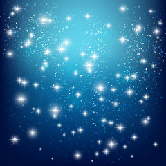 Shiny stars on blue background