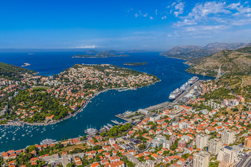 Aerial panorama of Dubrovnik harbor
