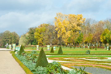 Peaceful view of autumn park with lawn in Berlin, Germany