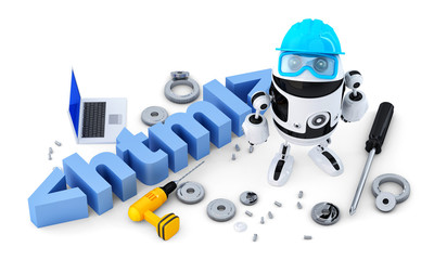 Robot with HTML sign. Isolated. Contains clipping path