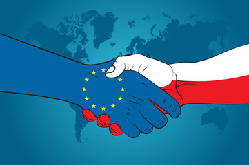 Handshake EU and Poland