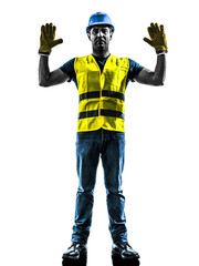 construction worker signaling stop gesture silhouette