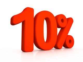 Ten percent simbol on white background