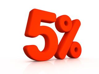 five percent simbol on white background