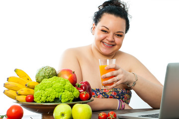 Overweight girl with organic food.