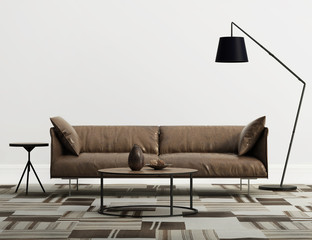 Minimal contemporary  interior with brown leather  sofa