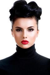 Beautiful young fashion woman with red lipstick