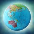 australia map on globe