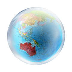 australia globe inside bubble