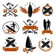 Surfing labels set. Vector - 65183842