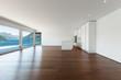 beautiful empty apartment, hardwood floor, modern kitchen