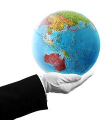 waiter holding australia globe