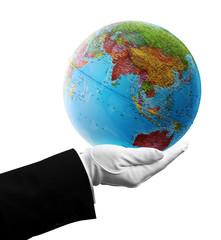 waiter holding asia globe