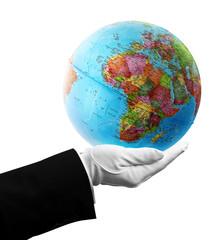 waiter holding africa globe