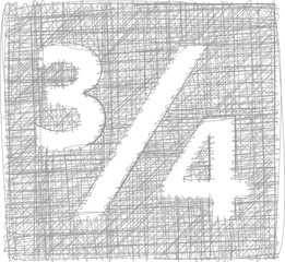 three quarters sign - Freehand Symbol
