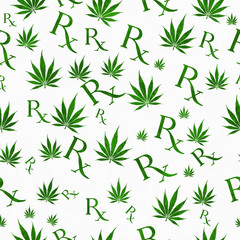 Green and White Marijuana Leaf and Prescription symbol Pattern R