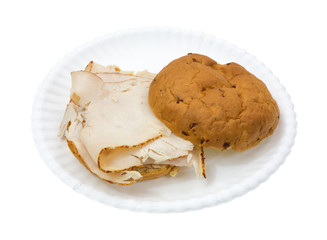 Open Turkey Sandwich Onion Roll Paper Plate