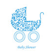 Baby boy arrival announcement card. baby icons