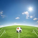 Fußball mit Rasen und Hintergrund