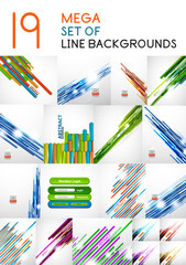 Vector straight line backgrounds design collection