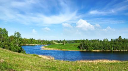 Summer Landscape with Osuga river.