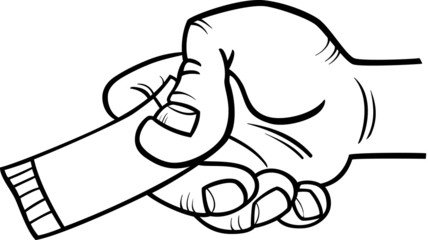 hand with ticket or coupon coloring page
